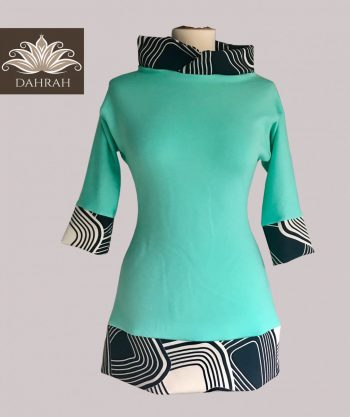 Beautiful green lady spring summer sweater by Dahrah with colorful pattern.