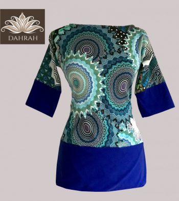 Beautiful women organic T-shirt by Dahrah with abstract ethnic pattern in blue, petrol and green shades.