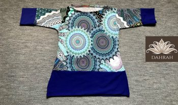 Beautiful women organic T-shirt by Dahrah with abstract ethnic pattern in blue, petrol and green shades..
