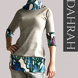 Beautiful grey lady spring summer sweater by Dahrah with colorful pattern.