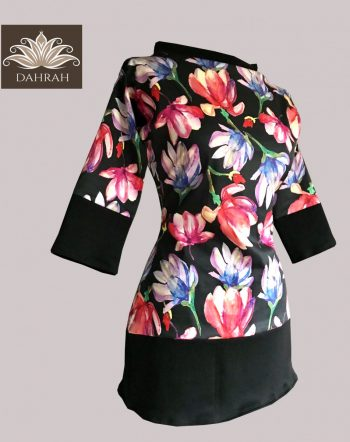 Dahrah, elastic cotton T-shirt for ladies with beautiful and colorful flower pattern on black background.
