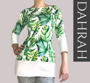 Dahrah, white and green organic T-shirt for woman with a beautiful tropical pattern.