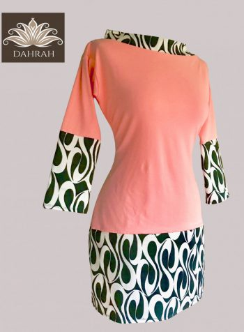Beautiful Dahrah woman coral T-shirt, organic stretch cotton with black and white abstract pattern.