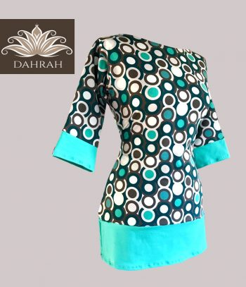 Beautiful women organic T-shirt by Dahrah with vintage dot pattern in turquoise and green shades.