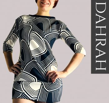 Beautiful white and navy blue lady T-shirt by Dahrah with a unique abstract pattern.