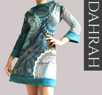 Beautiful women organic dress by Dahrah with abstract ethnic pattern in blue, petrol and green shades.