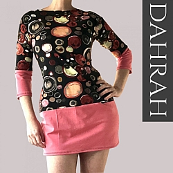 Beautiful women organic T-shirt by Dahrah with vintage dot pattern.