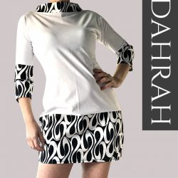 Beautiful Dahrah woman T-shirt, organic stretch cotton with black and white abstract pattern.