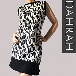 Beautiful Dahrah woman mini dress, organic stretch cotton with black and white abstract pattern.