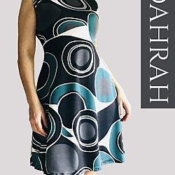 Beautiful Dahrah woman dress in organic cotton, huge dot abstract pattern in black and green.