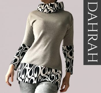 Beautiful Dahrah woman grey sweater, organic stretch cotton with black and white abstract pattern.