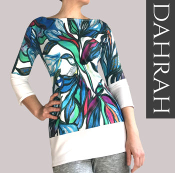 Dahrah, beautiful summer T-shirt for ladies with colorful pattern, made with cotton based organic fabric.