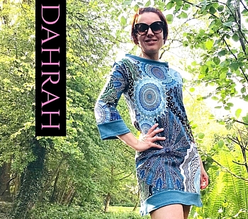 Beautiful organic dress for women by Dahrah with abstract ethnic pattern in blue, petrol and green shades.