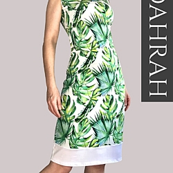 Dahrah, beautiful summer dress with green and white tropical patterns.