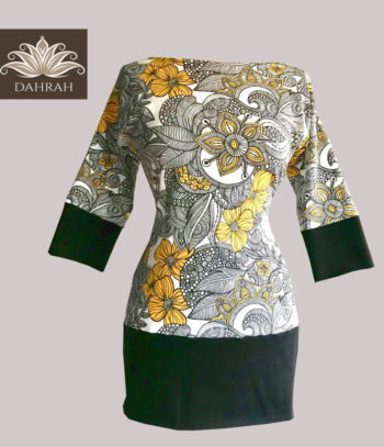 Dahrah, beautiful white, black and yellow summer T-shirt for woman, organic cotton with modern abstract artistic pattern.