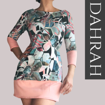 Beautiful woman long T-shirt by Dahrah, coral pink and pastel green-blue shades, perfect for spring and summer.