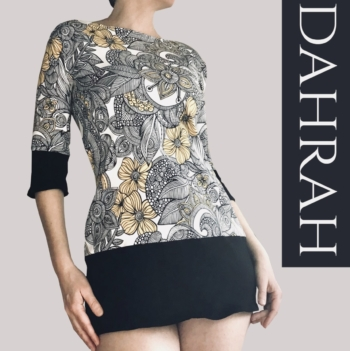 Dahrah, beautiful white, black and yellow summer T-shirt for woman with modern abstract artistic pattern.