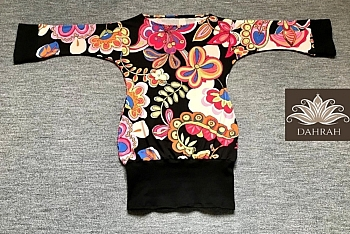 Beautiful Dahrah woman T-shirt, fresh summer jersey with beautiful abstract flower pattern with many colors on black background.