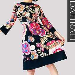 Beautiful Dahrah fashion women dress, colorful and creative flower pattern on black background.