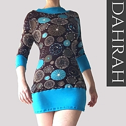 Beautiful Dahrah woman T-shirt in with abstract pattern in brown and turquoise color.