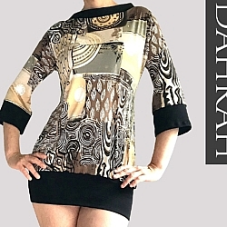 Beautiful Dahrah woman T-shirt for the summer with ethinc pattern in brown and beige shades.