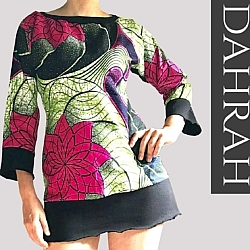 Beautiful Dahrah woman T-shirt, with beautiful African print fabric with psychedelic and ethinc pattern.