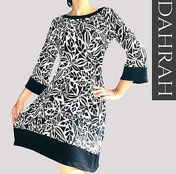 Beautiful black and white Dahrah fashion women dress made with light cotton jersey.