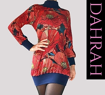 Dahrah Fashion viscose mix T-shirt for the winter, with beautiful flower fantasy in orange, red and blue tones.