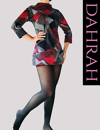 Dahrah Fashion sweater for women made with heavy vicose ideal for the cold season, with a geometric fantasy in red and grey tones.