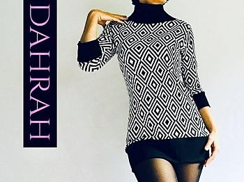 Dahrah Fashion winter sweater for women with geometrical pattern in back and white.
