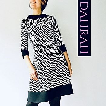 Beautiful and elegant winter dress by Dahrah Fashion with geometrical black and white pattern.