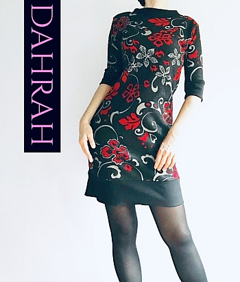 Winter dress by Dahrah in warm viscose fabric with red abstract flower pattern on black background.