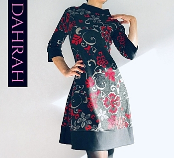 Winter dress by Dahrah in warm viscose fabric with red abstract flowers on black background.