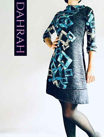 Dahrah Fashion women dress for the winter with geometrical patterns in blue tones on grey bacground.