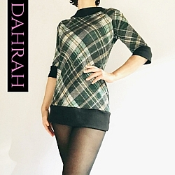 Dahrah Fashion viscose mix T-shirt for women with checkerbord pattern in black and turquoise shades.