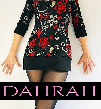 Dahrah Fashion sweater for women made with heavy vicose ideal for the cold season, with red flower fantasy on black background.