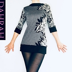 Dahrah Fashion viscose sweater for women with black and taupe' flower fantasy on checkered background.