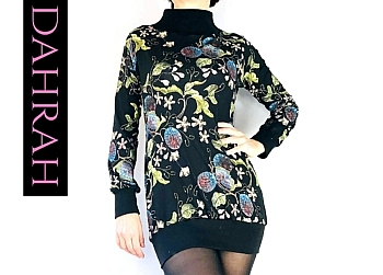 Dahrah Fashion viscose T-shirt for the winter, with beautiful flower fantasy on black background.