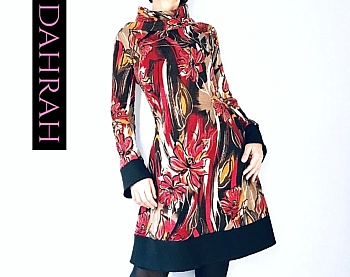 Beautiful winter dress for women by Dahrah Fashion with artistic flower fantasy in orange and brown shades.