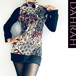 Dahrah Fashion winter sweater with abstract floral pattern, black sleeves and large turtle neck.