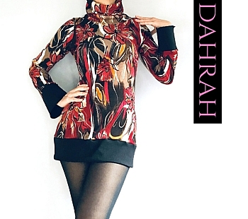 Dahrah Fashion winter sweater with abstract floral pattern in red, orange and yellow shades and with turtle neck.