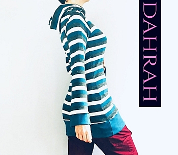 Dahrah Fashion winter sweater with horizontal stripes in green shades and large turtle neck.