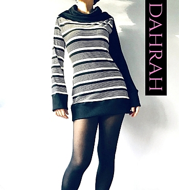 Winter sweater by Dahrah with horizontal black and white stripes, large turtle neck and very beautiful asymmetrical design.
