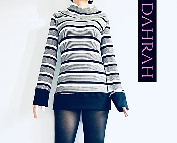 Winter sweater by Dahrah Fashion with black and white horizontal stripes.