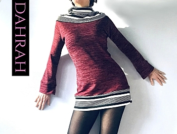 Beautiful winter sweater by Dahrah in bordeaux color with black and white striped turtle neck.