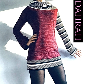 Beautiful winter sweater by Dahrah in bordeaux jersey with asymmetric design in black and white stripes.
