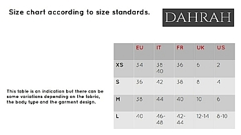 Dahrah, size chart as guideline to order your best size.