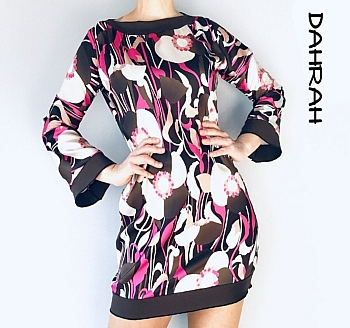 Beautiful dress by Dahrah Fashion realized in satin with a colorful abstract pattern in pink, white and brown colors.
