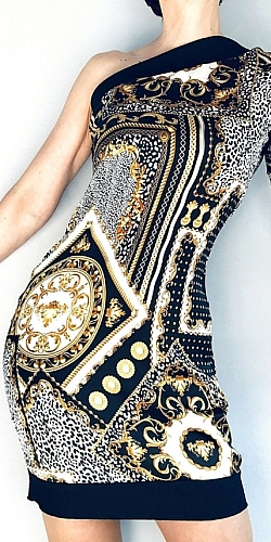 Exclusive gold and black dress by Dahrah Fashion made with silk alta moda made in Italy.