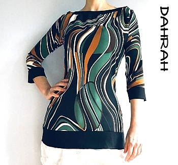 Beautiful Dahrah woman summer blouse with abstract flow pattern in green, brown and orange shades on black background.